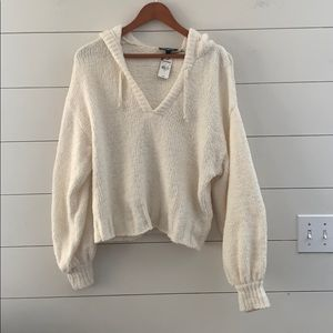 Express Hooded Ivory Sweater Sz S